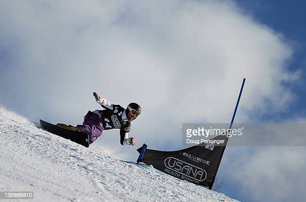 Simon Schoch of Switzerland rides to third place in the men's parallel giant slalom at the LG Snowboard FIS World Cup on December 15 2011 in...