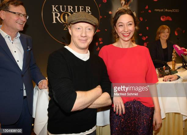 Simon Schwarz and Ursula Strauss pose during the 31 Kurier Romy 2020 Press Conference at Grand Hotel on March 3 2020 in Vienna Austria