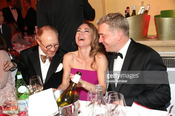 Simon Schwarz Lisa Maria Potthoff and Sebastian Bezzel during the German Film Ball 2018 party at Hotel Bayerischer Hof on January 20 2018 in Munich...