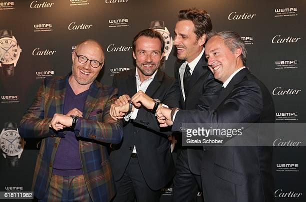 Simon Schwarz Lucas Gregorowicz Max von Thun and Renaud Lestringant Northern Europe Managing Director Cartier during the #Whatdrivesyou event by...