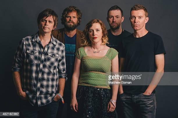 Simon Scott Neil Halstead Rachel Goswell Christian Savill and Nick Chaplin of Slowdive pose for a portrait backstage at ATP Iceland music festival at...