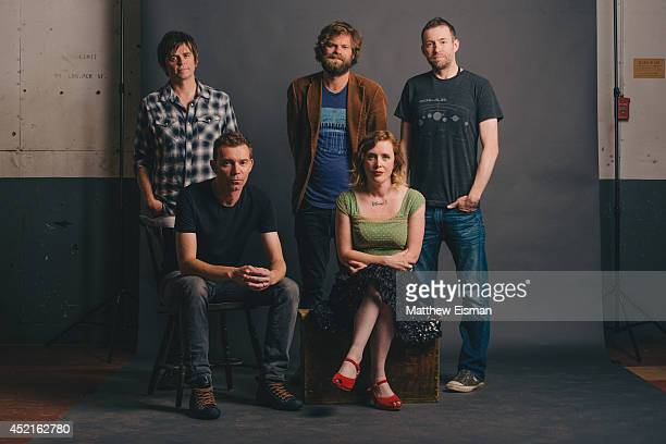 Simon Scott Nick Chaplin Neil Halstead Rachel Goswell and Christian Savill of Slowdive pose for a portrait backstage at ATP Iceland music festival at...