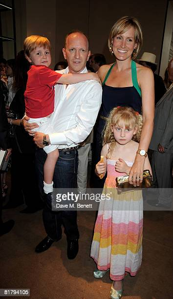 Simon Sebag Montefiore and Santa Montefiore with their children attend the book launch party of Simon Sebag Montefiore's book 'Sashenka' at Asprey on...