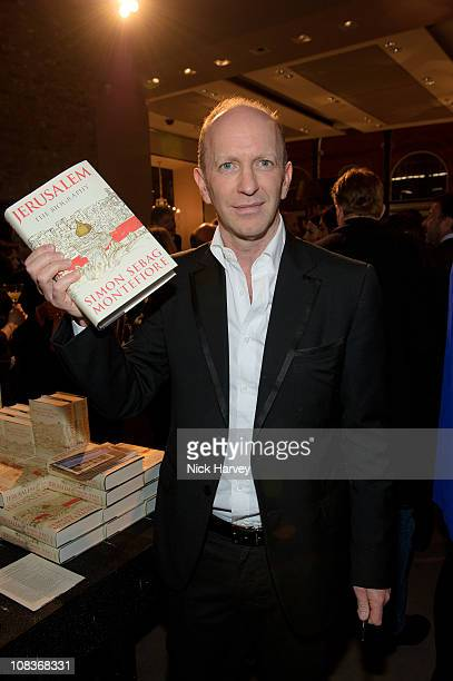 Simon SebagMontefiore attends book launch party for his latest book 'Jerusalem the Biography a fresh history of the Middle East' at Asprey on January...