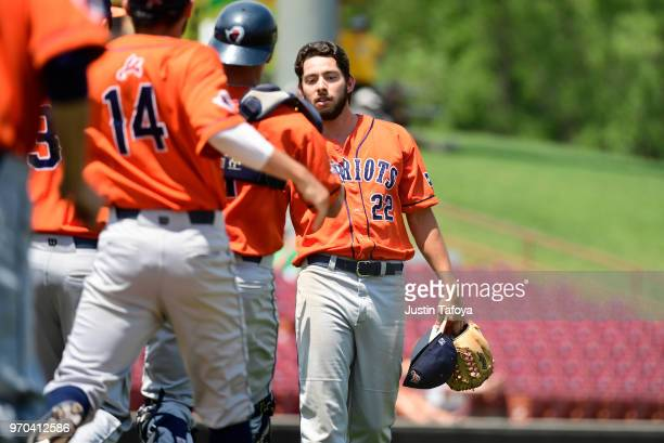 Simon Sedillo of UT Tyler celebrates after pitching a complete game against Texas Lutheran University during the 2018 NCAA Division III Baseball...
