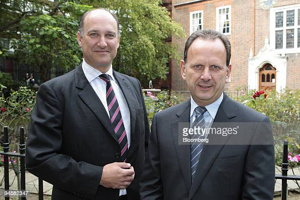 Simon Shaw chief financial officer of Gyrus and Roy Davis chief executive officer of Gyrus pose after releasing the company's interim results in...