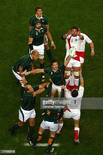 Simon Shaw of England and Bakkies Botha of South Africa jump for the lineout ball during the 2007 Rugby World Cup Final between England and South...
