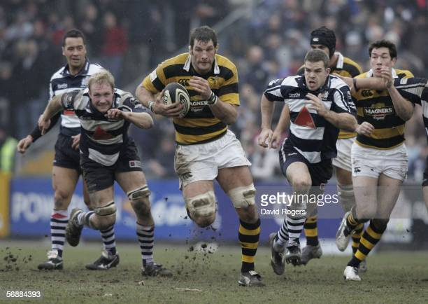 Simon Shaw, the Wasps lock charges upfield during the Guinness Premiership match between Bristol and London Wasps at The Memorial Ground on February...