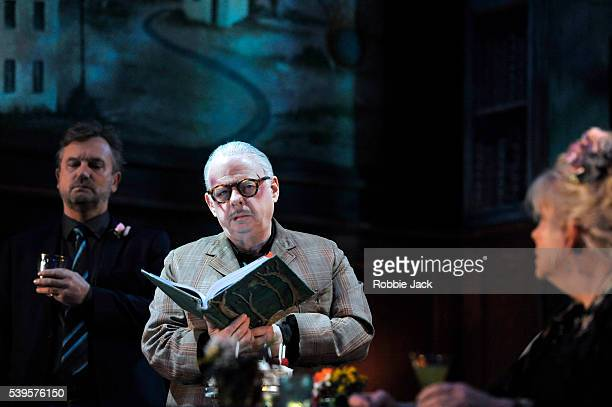 Simon Shepherd as Tom Wallace Shawn as Dick and Anna CalderMarshall as Nellie in the National Theatre's production of Wallace Shawn's Evening at the...