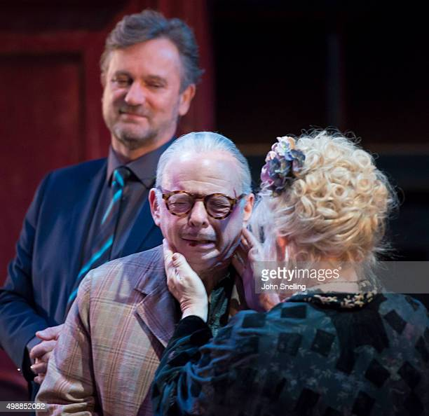 Simon Shepherd as Tom Wallace Shawn as Dick Anna CalderMarshall as Nellie perform on stage during a performance of 'Evening At The Talk House' at The...