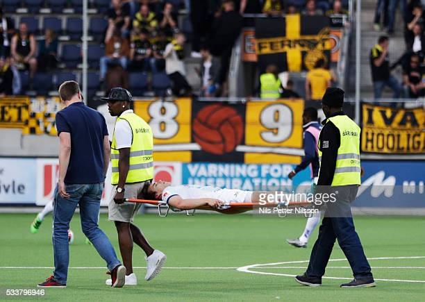 Simon Skrabb of Gefle IF injured during the Allsvenskan match between Gefle IF and AIK at Gavlevallen on May 23 2016 in Gavle Sweden