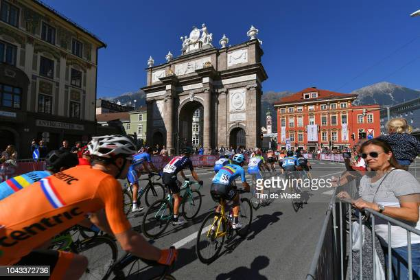 Simon Spilak of Slovenia / Winner Andrew Anacona of Colombia / Sergio Henao Montoya of Colombia / Triumphal Arch / Triumphforte / Innsbruck City /...
