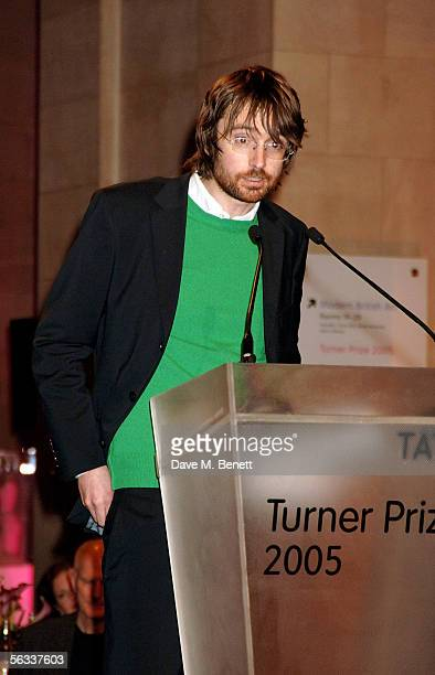 Simon Starling speaks as he is presented with the Turner Prize 2005 on stage at Tate Britain on December 5 2005 in London England David Lammy hosts...