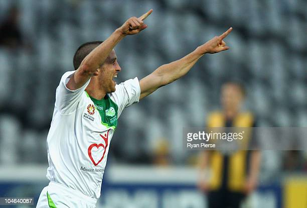 Simon Storey of the Fury celebrates after scoring his teams first goal during the round nine ALeague match between the Central Coast Mariners and the...