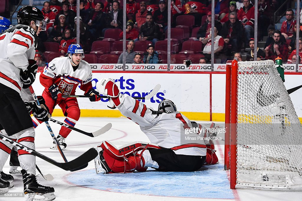 Simon Stransky #23 of Team Czech Republic scores on goaltender Connor Ingram #1 of Team Canada during the 2017 IIHF World Junior Championship quarterfinal game at the Bell Centre on January 2, 2017 in Montreal, Quebec, Canada. Team Canada defeated Team Czech Republic 5-3.