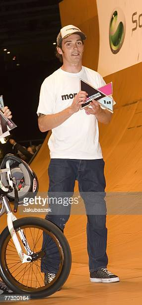 Simon Tabron of the UK poses after winning the 1st place in the BMX halfpipe competition at the TMobile Xtreme Playgound event at the Volodrom on...