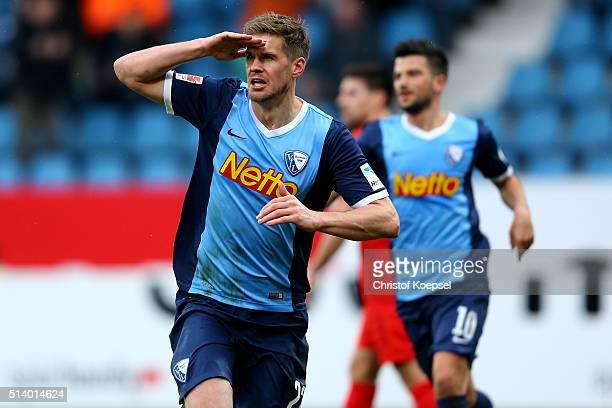 Simon Terodde of Bochum celebrates the first goal during the 2 Bundesliga match between VfL Bochum and Arminia Bielefeld at Rewirpower Stadium on...