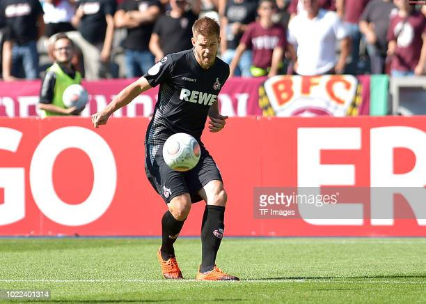 Simon Terodde of FC Koeln controls the ball during the DFB Cup first round match between BFC Dynamo and 1 FC Koeln at Olympiastadion on August 19...