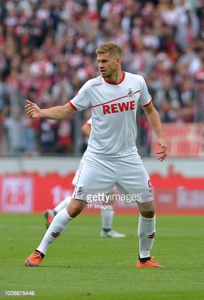 Simon Terodde of FC Koeln gestures during the second Bundesliga match between FC Koeln and FC Erzgebirge Aue at RheinEnergieStadion on August 25 2018...