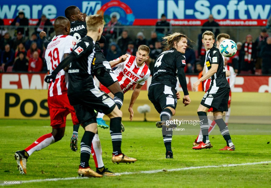 Simon Terodde of Koeln heads his teams winning goal during the Bundesliga match between 1. FC Koeln and Borussia Moenchengladbach at RheinEnergieStadion on January 14, 2018 in Cologne, Germany.