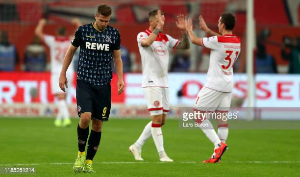 Simon Terodde of Koeln looks dejected after loosing the Bundesliga match between Fortuna Duesseldorf and 1. FC Koeln at Merkur Spiel-Arena on...