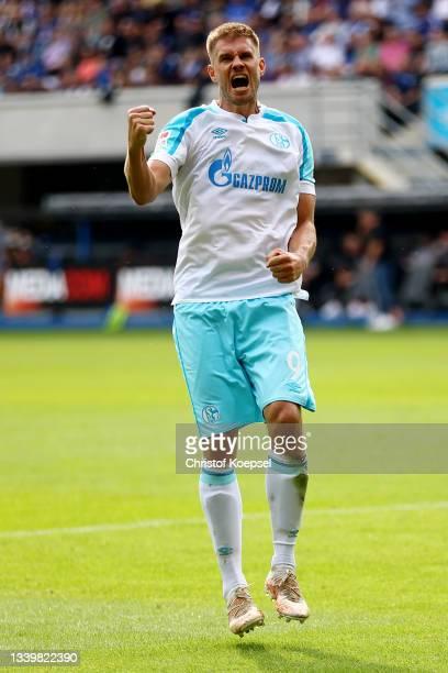 Simon Terodde of Schalke celebrates the first goalduring the Second Bundesliga match between SC Paderborn 07 and FC Schalke 04 at Benteler Arena on...