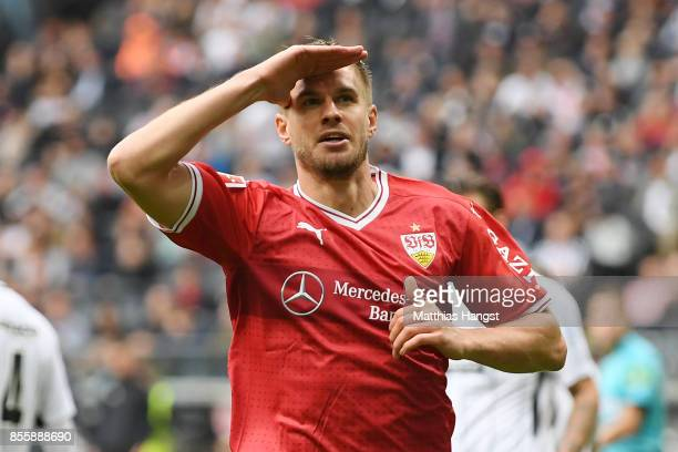 Simon Terodde of Stuttgart celebrates after he scored his teams first goal to make it 11 during the Bundesliga match between Eintracht Frankfurt and...