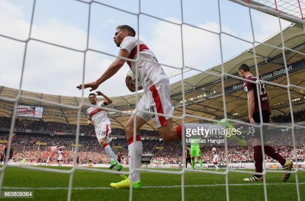 Simon Terodde of Stuttgart celebrates after scoring his team's first goal during the Second Bundesliga match between VfB Stuttgart and Dynamo Dresden...