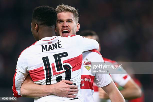 Simon Terodde of Stuttgart celebrates his team's first goal with team mate Carlos Mane during the Second Bundesliga match between VfB Stuttgart and...