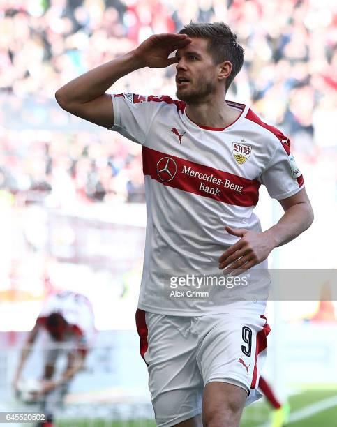 Simon Terodde of Stuttgart celebrates scoring his teams goal during the Second Bundesliga match between VfB Stuttgart and 1 FC Kaiserslautern at...