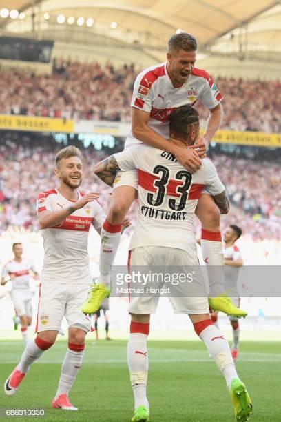 Simon Terodde of Stuttgart celebrates scoring the 2nd team goal with his team mate Daniel Ginczek during the Second Bundesliga match between VfB...