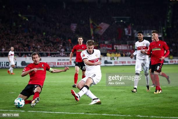 Simon Terodde of Stuttgart scores his team's third goal to make it 30 during the Bundesliga match between VfB Stuttgart and SportClub Freiburg at...
