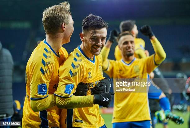 Simon Tibbling and Besar Halimi of Brondby IF celebrate after the Danish Alka Superliga match between Brondby IF and FC Nordsjalland at Brondby...
