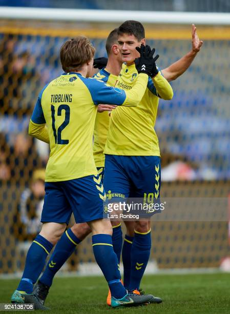 Simon Tibbling and Christian Norgaard of Brondby IF celebrate after scoring their second goal during the Danish Alka Superliga match between Brondby...
