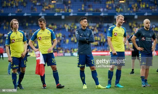Simon Tibbling Kamil Wilczek Svenn Crone Paulus Arajuuri and Teemu Pukki of Brondby IF looking dejected after the Danish Alka Superliga match between...