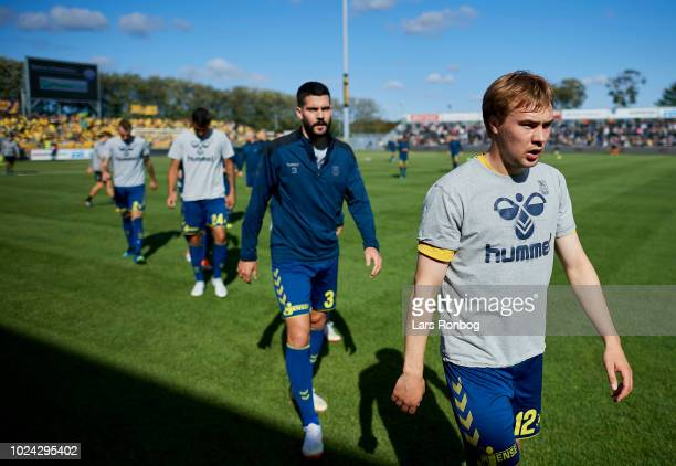 Simon Tibbling of Brondby IF after the warm up prior to the Danish Superliga match between Vendsyssel FF and Brondby IF at Nord Energi Arena on...