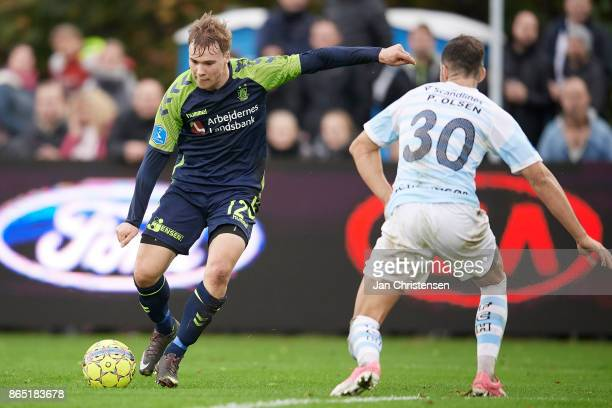 Simon Tibbling of Brondby IF and Patrick Olsen of FC Helsingor in action during the Danish Alka Superliga match between FC Helsingor and Brondby IF...