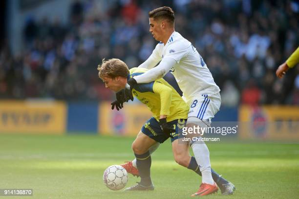 Simon Tibbling of Brondby IF and Pieros Sotiriou of FC Copenhagen compete for the ball during the Danish Cup DBU Pokalen match between FC Copenhagen...
