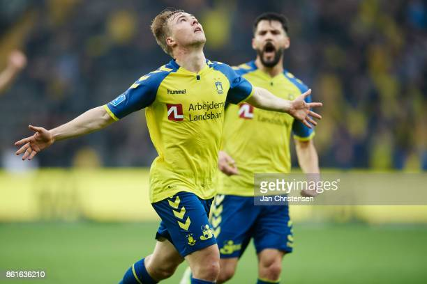 Simon Tibbling of Brondby IF celebrate after his 41 goal during the Danish Alka Superliga match between Brondby IF and Silkeborg IF at Brondby...