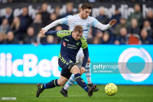 Simon Tibbling of Brondby IF compete for the ball during the Danish Alka Superliga match between FC Helsingor and Brondby IF at Helsingor Stadion on...