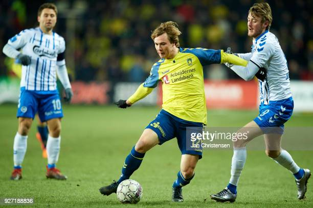 Simon Tibbling of Brondby IF compete for the ball during the Danish Alka Superliga match between Brondby IF and OB Odense at Brondby Stadion on March...