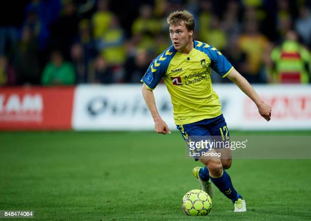 Simon Tibbling of Brondby IF controls the ball during the Danish Alka Superliga match between Brondby IF and AaB Aalborg at Brondby Stadion on...