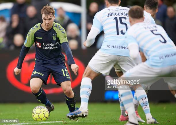 Simon Tibbling of Brondby IF controls the ball during the Danish Alka Superliga match between FC Helsingor and Brondby IF at Helsingor Stadion on...