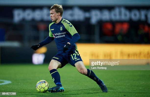 Simon Tibbling of Brondby IF controls the ball during the Danish Alka Superliga match between Sonderjyske and Brondby IF at Sydbank Park on December...