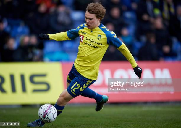 Simon Tibbling of Brondby IF controls the ball during the Danish Alka Superliga match between Brondby IF and FC Helsingor at Brondby Stadion on...