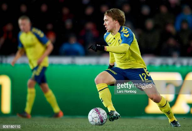 Simon Tibbling of Brondby IF controls the ball during the Danish Alka Superliga match between FC Midtjylland and Brondby IF at MCH Arena on March 1...
