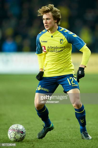 Simon Tibbling of Brondby IF controls the ball during the Danish Alka Superliga match between Brondby IF and OB Odense at Brondby Stadion on March 04...