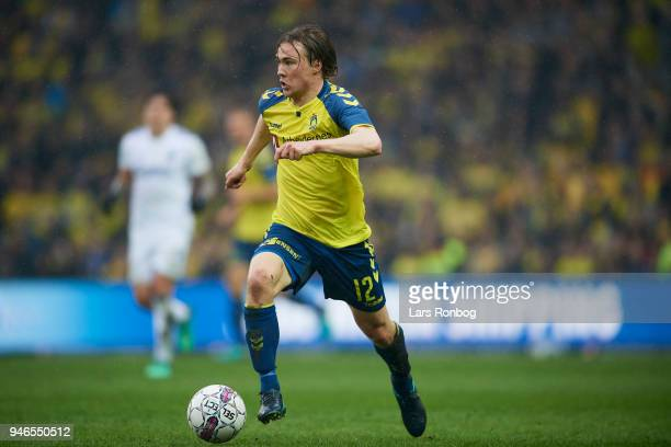 Simon Tibbling of Brondby IF controls the ball during the Danish Alka Superliga match between Brondby IF and FC Copenhagen at Brondby Stadion on...