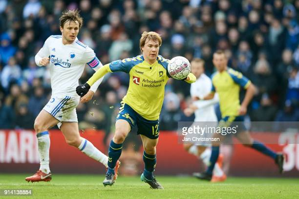 Simon Tibbling of Brondby IF controls the ball during the Danish Cup DBU Pokalen match between FC Copenhagen and Brondby IF in Telia Parken Stadium...