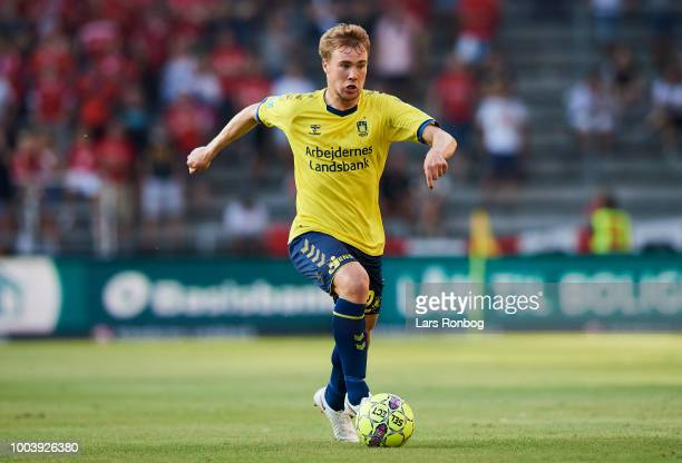 Simon Tibbling of Brondby IF controls the ball during the Danish Superliga match between Brondby IF and Vejle Boldklub at Brondby Stadion on July 22...